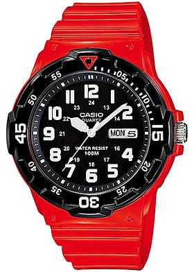 ĐỒNG HỒ CASIO MRW-200HC-4BVDF Dây đeo bằng nhựa đỏ - Mặt số Viền vàng