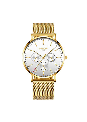 Đồng hồ thời trang công sở nam NIBOSI chính hãng NI2321-1.02 fullbox, chống nước - Chạy full 6 kim, mặt kính Mineral, dây thép lưới cao cấp không gỉ