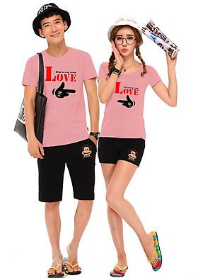 Hình ảnh Bộ Áo Thun Đôi Nam Nữ My True Love Màu Hồng Ruốc
