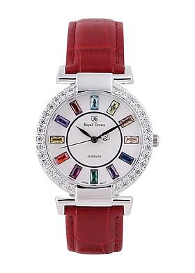 Đồng hồ nữ dây da chính hãng Royal Crown 4604 (36mm) - Đỏ