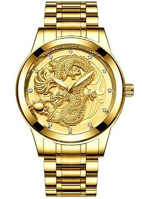 Đồng hồ nam chạm rồng vàng 3D