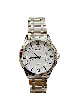 Đồng hồ Nam SKM 9069  full trắng (Tặng pin Nhật sẵn trong đồng hồ + Móc Khóa gỗ Đồng hồ + Hộp Chính Hãng)