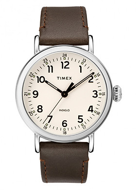 Đồng Hồ Nam Dây Da Timex Standard 40mm Silver-tone Case White Dial Brown Leather Strap - TW2T20700