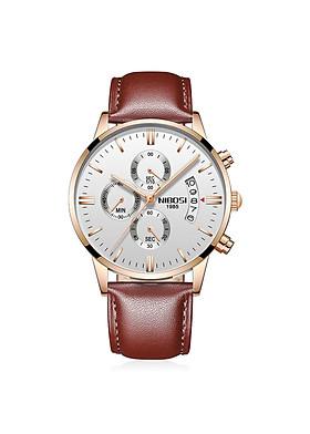 Đồng hồ thời trang công sở nam NIBOSI chính hãng NI2309.24 fullbox, chống nước cao cấp - Chạy full 6 kim, mặt kính Mineral, dây da cao cấp