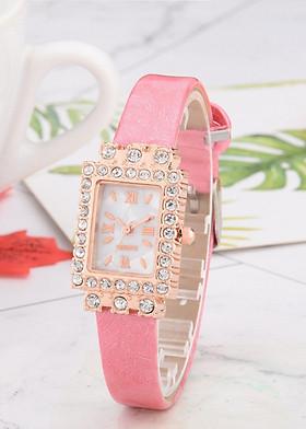 Đồng hồ nữ mặt chữ nhật đính đá thời thượng - dây da hồng phấn CND03