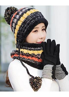 Hình ảnh Mũ nón len nữ kèm khăn choàng cổ len thời trang Hàn Quốc dn19111312