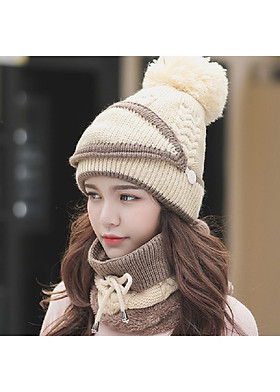 Hình ảnh Mũ nón len nữ kèm khăn choàng cổ len kèm khẩu trang dn19111309