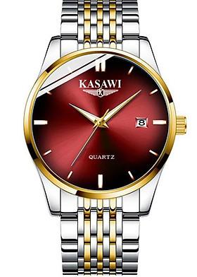 Đồng hồ nam KASAWI K02 Lịch ngày sang trọng doanh nhân 2020 dây hợp kim thép không gỉ