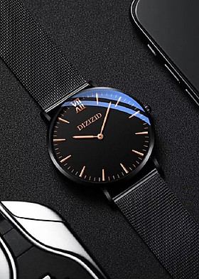 Đồng hồ nam DIZIZID mặt siêu mỏng mẫu HOT dây thép lụa đen cao cấp DZ2K