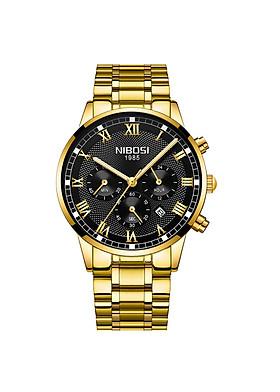 Đồng hồ thời trang công sở Nam NIBOSI 1985 chính hãng NI2339 (Đồng Hồ Nam) fullbox, chống nước - Mặt kính Mineral, Chayj full 6 kim, dây hợp kim cao cấp không gỉ