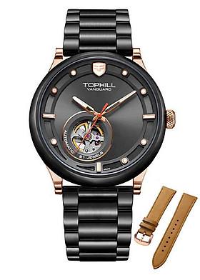 Đồng hồ nam máy cơ dây da và thép chính hãng Thụy Sĩ Tophill TV005G.S0088