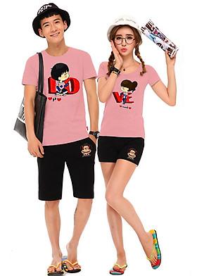 Hình ảnh Bộ Áo Thun Đôi Nam Nữ Love Màu Hồng Ruốc