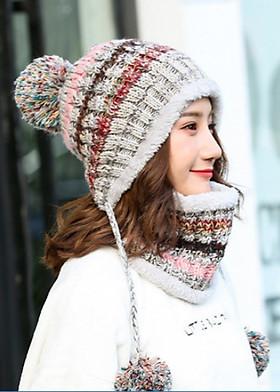 Hình ảnh Bộ mũ len và khăn trùm cổ sọc màu A003