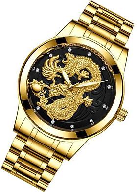Đồng hồ đeo tay nam chạm rồng nổi 3D