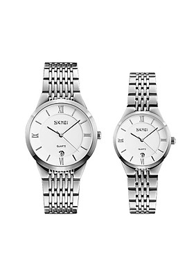 Đồng hồ đôi SKMEI SK9139 Vỏ Máy Và Dây Đeo Hợp Kim Sang Trọng , Bền Bỉ