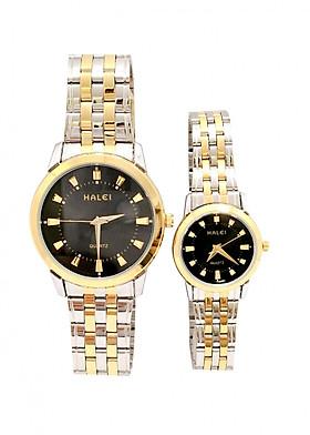 Cặp Đồng Hồ Nam Nữ Halei HL502 (Tặng pin Nhật sẵn trong đồng hồ + Móc Khóa gỗ Đồng hồ 888 y hình + hộp chính hãng + thẻ bảo hành)