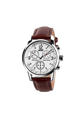 Đồng hồ đeo tay nam SKMEI DH246 (Dây nâu, mặt trắng)