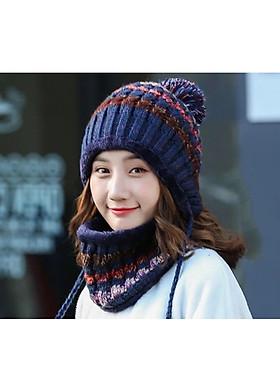 Hình ảnh Mũ len nón len nữ kèm khăn choàng cổ len thời trang Hàn Quốc dn19111313
