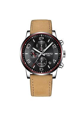 Đồng hồ thời trang công sở nam NIBOSI chính hãng NI2328.11 fullbox, chống nước - Chạy full 6 kim, mặt kính mineral, dây da cao cấp