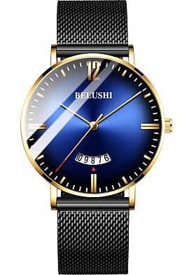 Đồng hồ nam Siêu mỏng lịch ngày sang trọng dây thép mành cao cấp BE1888