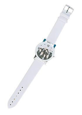Đồng hồ đeo tay BTS dây trắng (Tặng cặp vòng tay chỉ đỏ)