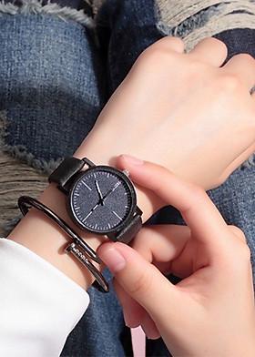 Đồng hồ unisex cặp đôi Shuxia dây da mặt tròn thời trang nhiều màu