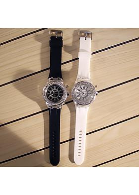 COMBO 2 Đồng Hồ Phát Sáng Thạch Anh NAM NỮ (trắng đen) - Tặng kèm 2 Vòng đeo tay cao cấp