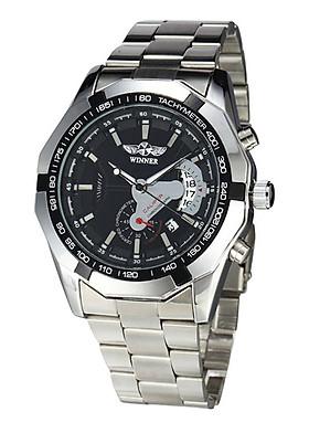Đồng hồ nam Winner W050 cơ lộ máy có lịch - Fullbox chính hãng
