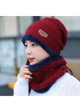Hình ảnh nón len nữ kèm khăn choàng cổ dn19111603
