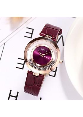 Đồng hồ nữ mặt tròn đá chạy thời trang