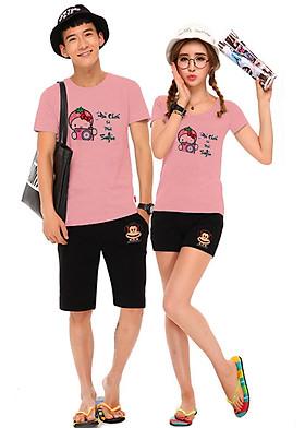 Hình ảnh Bộ Áo Thun Đôi Nam Nữ Selfie Màu Hồng Ruốc