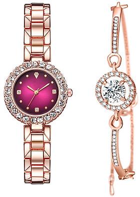 Đồng Hồ Nữ Thời trang viền đính đá Dây thép cao cấp + Tặng lắc tay thời trang