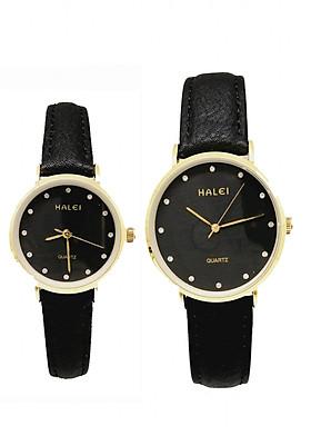 Cặp Đồng Hồ Nam Nữ Halei HL542 Dây da full đen (Tặng pin Nhật sẵn trong đồng hồ + Móc Khóa gỗ Đồng hồ 888 y hình + hộp chính hãng)