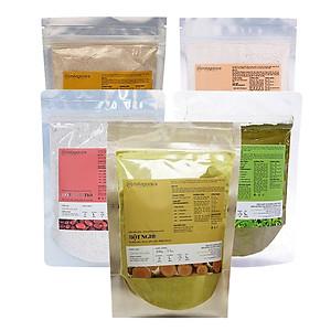 Hình đại diện sản phẩm Combo Bột Cám Gạo 100g + Bột Đậu Đỏ 100g + Bột Yến Mạch 100g + Bột Trà Xanh 100g + Bột Nghệ 100g Milaganics