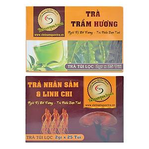 Hình đại diện sản phẩm Bộ Trà Nhân Sâm Linh Chi Việt Nam Quốc Trà (25 Gói / Hộp) + Trà Trầm Hương Túi Lọc Việt Nam Quốc Trà (25 Gói / Hộp)