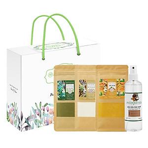 Hình đại diện sản phẩm Milaganics Summer Box: Dầu Dừa Tinh Khiết 250ml + Bột Trà Xanh 100g + Bột Yến Mạch 100g + Bột Nghệ 100g