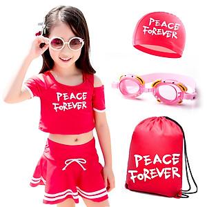 Hình đại diện sản phẩm Set đồ bơi váy rời cộc tay bé gái kèm dụng cụ bơi You swim children 37241