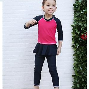 Hình đại diện sản phẩm Bộ bơi dài rời đỏ tay đen quần chân váy bé gái từ 2 đến 12 tuổi