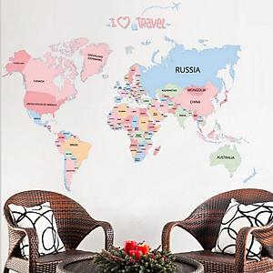 Hình đại diện sản phẩm Wall Stickers Wall Stickers for Bedroom Wall Stickers for Kids World Map Map Decor World Map Wall Decal