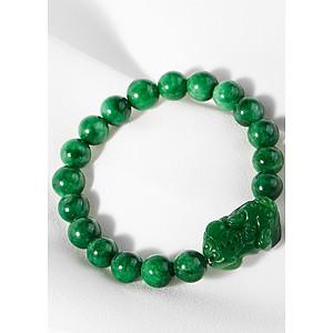 Vòng tay đá thiên nhiên phối tý hưu đá xanh lá Ngọc Quý Gemstone