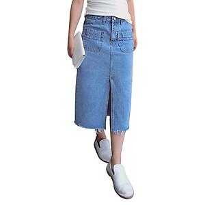 Hình đại diện sản phẩm Chân Váy Jeans Dáng Dài Rách Gấu Zavans - Xanh Bò
