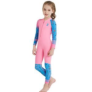 Hình đại diện sản phẩm Bộ bơi liền dài hồng tay xanh bé gái từ 2 đến 11 tuổi