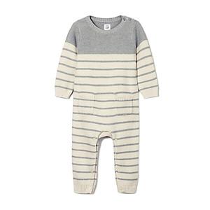Hình đại diện sản phẩm GAP official flagship store baby cotton knit hat striped baby autumn onesies baby boy baby girl hydrogen gray 59cm (3-6 months)
