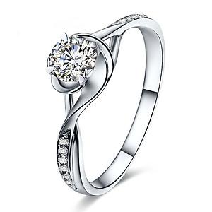 Hình đại diện sản phẩm Ming Diamond International Four-Claw Deluxe Diamond Ring Female White 18K Gold Diamond Engagement Ring / Wedding Ring / Couple Pair Ring Female Model No. 18 Ring