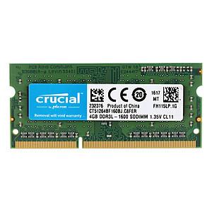 Hình đại diện sản phẩm Crucial 4GB DDR3 1600MHz PC3-12800 1.35V CL11 204 Pin SODIMM Notebook Laptop Memory RAM CT51264BF160BJ - 4GB