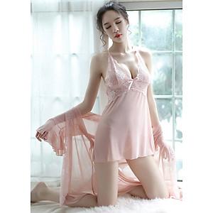Hình đại diện sản phẩm Váy ngủ, Váy ngủ sexy, Váy ngủ gợi cảm, Váy ngủ trong suốt + Tặng kèm áo choàng Kimono + quần chip lọt khe ( Màu hồng)