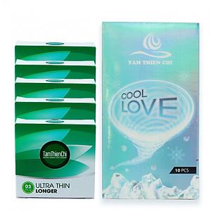Hình đại diện sản phẩm Bao cao su siêu mỏng mát lạnh kéo dài Tâm Thiện Chí Cool Love hộp 10 cái và Bao cao su siêu mỏng kéo dài Tâm Thiện Chí Ultrathin Longer bộ 5 hộp (hộp 3 cái)