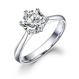 Hình đại diện sản phẩm Ming Diamond International Six-Claw Crown White 18k Gold Diamond Ring Female Diamond Ring Marriage Marriage Female Ring Couple Pair Ring Female 9 Minute