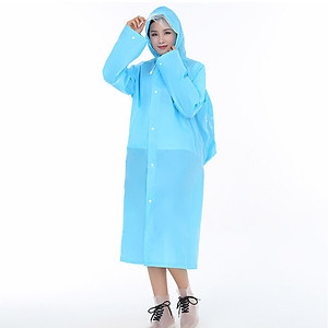 Hình đại diện sản phẩm Benedict EVA long non-disposable hooded raincoat rain gear backpack thick poncho outdoor hiking travel non-disposable poncho men and women rain gear reusable blue L