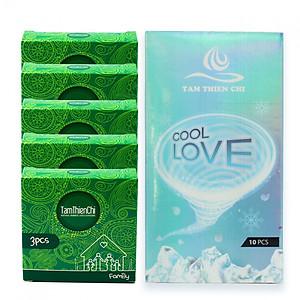 Hình đại diện sản phẩm Bao cao su siêu mỏng mát lạnh kéo dài Tâm Thiện Chí Cool Love hộp 10 cái và Bao cao su mỏng truyền nhiệt Tâm Thiện Chí Family bộ 5 hộp (hộp 3 cái)